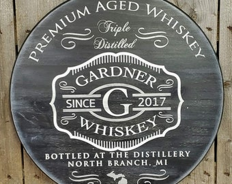 NEW! Rustic wood Bar sign. Custom Whiskey, custom wine, custom beer designs. family bar sign. Family style round wooden sign.gift for him.