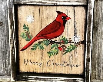 Cardinal Merry Christmas rustic wood sign