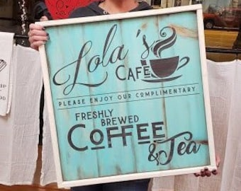 Custom Coffee Cafe Sign: YOUR business or family space.  Rustic Farmhouse frame with vintage aqua planked finish.