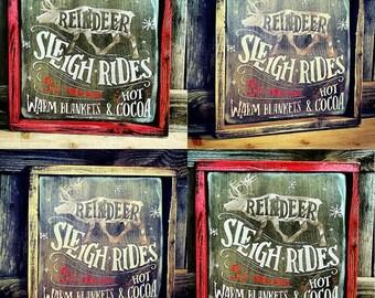 Vintage look Reindeer Sleigh Rides - Winter wooden sign.