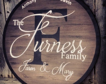 Classic Family style round wooden sign.  Wedding, anniversary, housewarming. Free SHipping