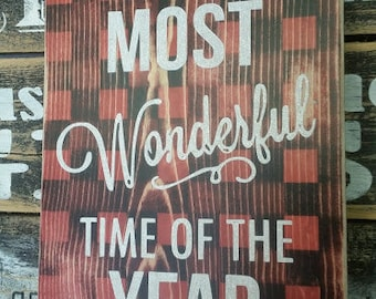 Buffalo plaid Christmas Sign. Most wonderful time of the year