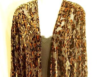 398ecd3cbd Vintage Silk   Velvet Animal Print and Paisley Duster Kimono - Full Length