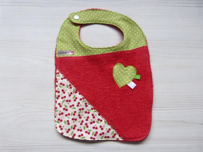 fruit green cherry accessory baby birth gift heart Red baby meals Bib Terry towel fabric bib