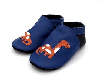 Soft leather slippers size 18 to 35, baby, child, handmade in France dinosaur theme, diplodocus, black, orange, blue