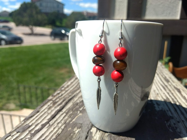 Red Howlite and Wooden Bead and Tiger Eye Nugget Earrings with Silver Feathers