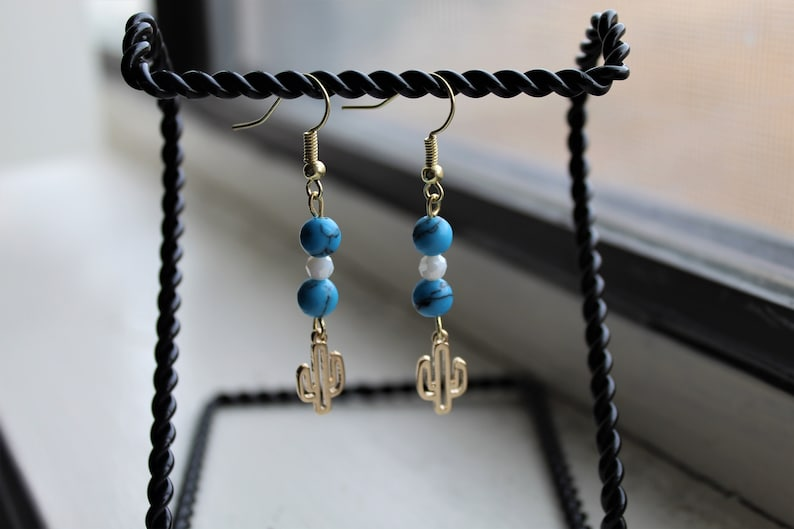 Gold and Turquoise Cactus Earrings with Glass Faceted Beads