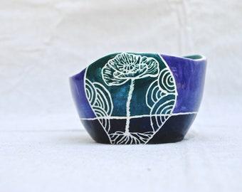 Flower Garden Sgraffito - Food Safe Bowl - Wabi Sabi - Wavy Rim - Poppy - Snapdragon - Chamomile - Ceramic - Clay - Earth Art