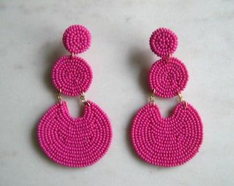 Hot pink,neon,statement earrings,beaded earrings,modern earrings,long earrings,pink jewelry,boho earrings,seed beaded earrings,gift for her