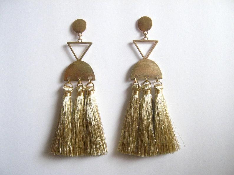Geometric Tassel Earrings Boho Earrings Large Statement Earrings Statement earrings