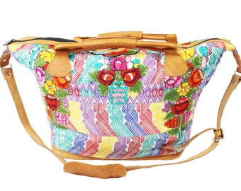 Woven Handmade, Guatemalan Weekender Bag. Leather accents, multi-colored bag with yellow, purple and red. Large Bag Perfect for travel.