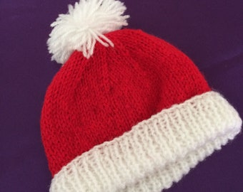 1e896d47ebc Hand knit Christmas hat for baby