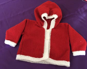 Hand knit Santa cardigan,Christmas for baby, baby hoodie,