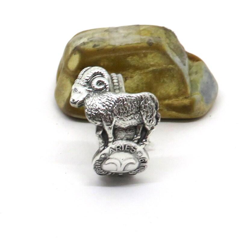 Retro Enement Rings   Aries Spoon Ring Zodiac Astrology Spoon Ring Vintage Spoon Etsy