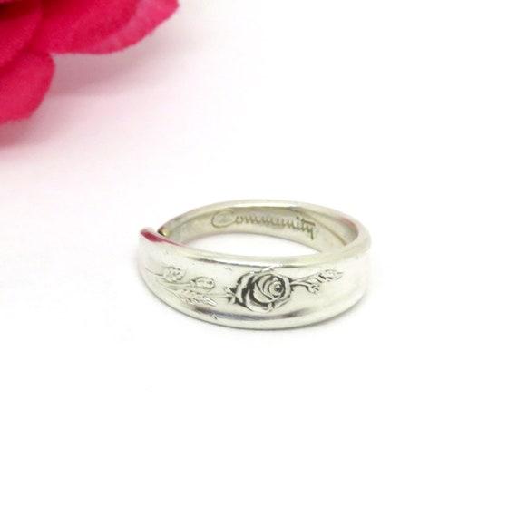 Vintage Rose Spoon Ring