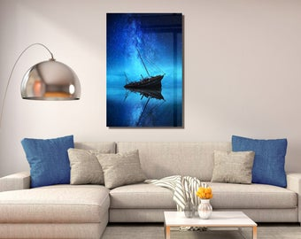 Blue Night Ship Photography Artwork Wall Art One Panel Ready to Hang