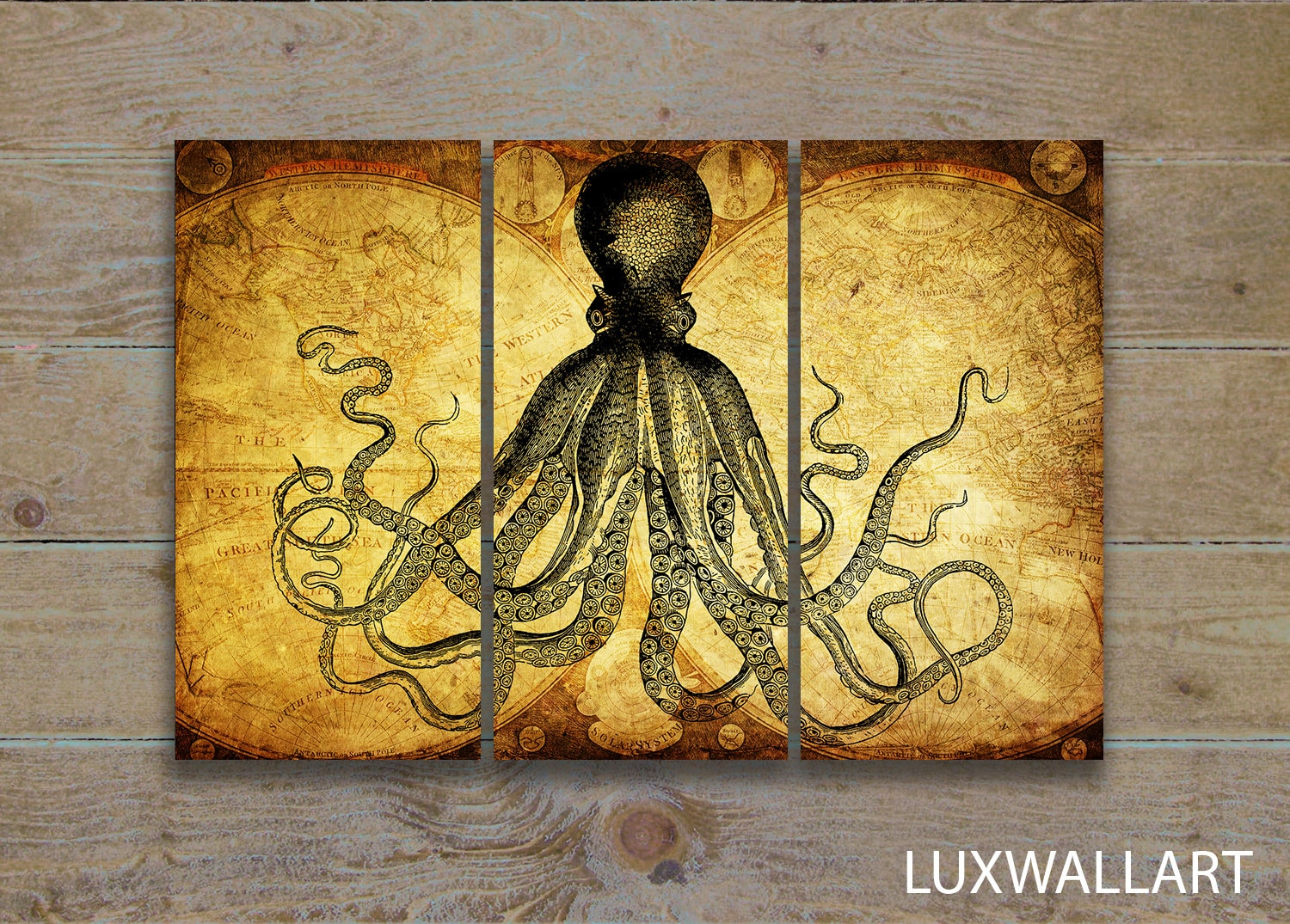 rustic wall art octopus on world map | Etsy