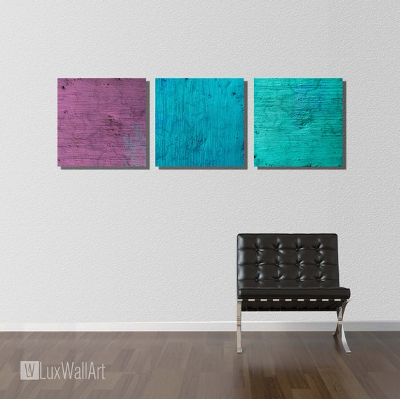 3 Square Piece Abstract Wall Art Set Ready To Hang