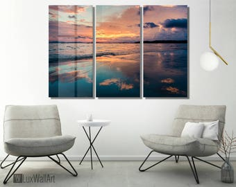 Orange and Blue Sunrise Wall Art Metal Print Decor Ready to Hang