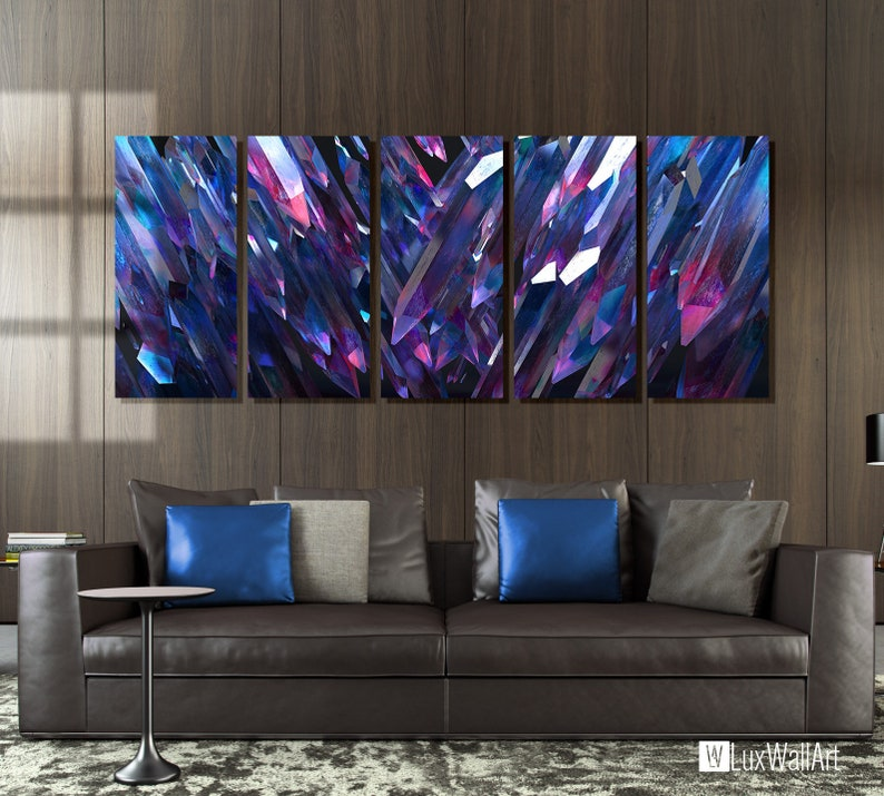 Large Abstract Metal Wall Art Decor Crystals