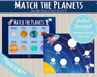 Solar System Learning Planets Activity | INSTANT PRINTABLE DOWNLOAD | Planet Matching Game | Toddler Busy Binder Activities