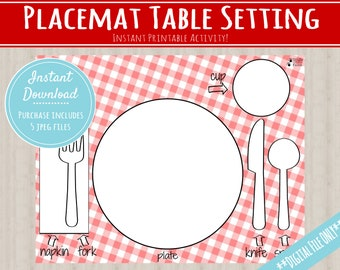 Placemat Table Setting Matching Activity |INSTANT PRINTABLE DOWNLOAD| Toddler Place Setting Practice| Montessori-Inspired Homeschool