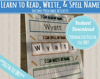 Learn to Read, Spell and Write Name Printable Activity, PERSONALIZED and INSTANT DOWNLOAD for preschool, kindergarten, homeschool!