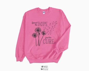 Spread the Hope Find the Cure Breast Cancer Awareness Ribbon | Light, Dark Pink Adult Unisex Crewneck Sweatshirt |Survivor Fighter Team Gift