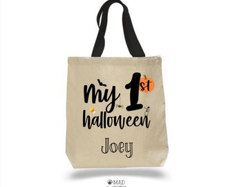My First Halloween Canvas Tote Bag, Customized Halloween Candy Bag, Kids Costume, Personalized Candy Bag Parade Name, 1st Halloween Bucket