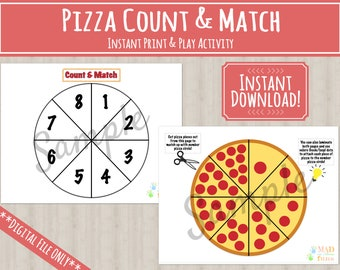 Pizza Count and Match Activity | Printable | INSTANT DOWNLOAD | Preschool | Kindergarten | Homeschool | Learning | Pizza Math