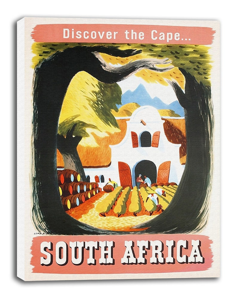 3398748a4d South Africa Travel Poster Vintage African Art Canvas Print