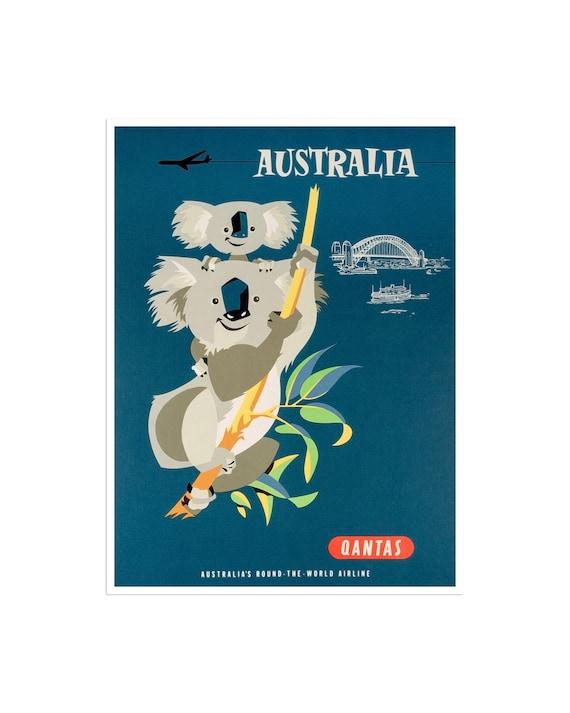 Vintage Australian Sydney Harbour Australia Travel Poster #3 A3//A4 size
