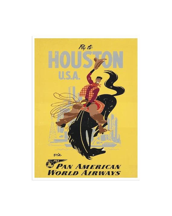 Houston Texas Travel Poster Vintage Home Decor Print Retro xr1608