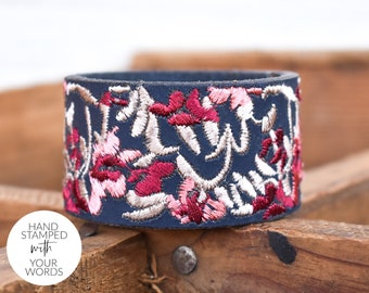 Personalized Leather Cuff for Women, Custom Leather Bracelet with Your Words, Navy Embroidered Floral Leather, Encouraging Gift for Her