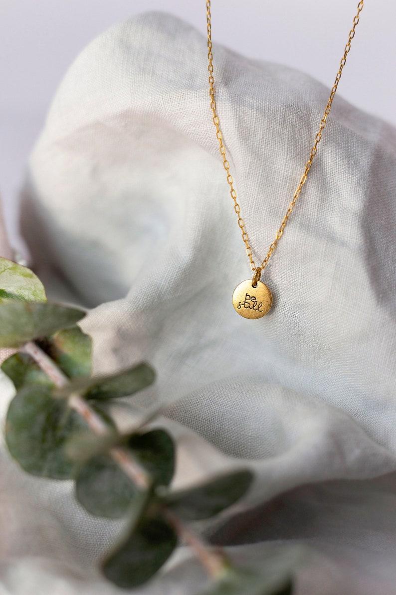 Hand Stamped Be Still Necklace \u2022 Psalm 46 Necklace \u2022 Be Still Small Disc Charm Necklace \u2022 Encouraging Gift Her \u2022 Be Still /& Know Necklace