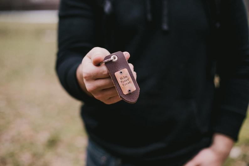 personalized key chain custom leather key chain hand stamped key chain personalized key fob leather key fob Men/'s Custom Key Chain