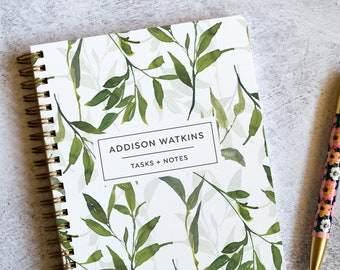 Custom To Do List Notebook with Daily To Do Lists and Notes, Botanical Design, 100 Pages with Protective Poly Cover, To-Do List Pad NB6332