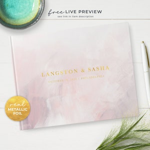 Silver or Rose Gold GB258 Gold Personalized Floral Wedding Guest Book with Metallic Foil Lettering Guest Registry Custom Guestbook