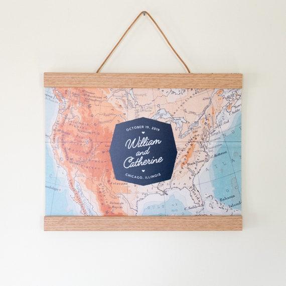 Personalized Us Map.Personalized Us Map Guest Book Alternative With Optional Oak Etsy