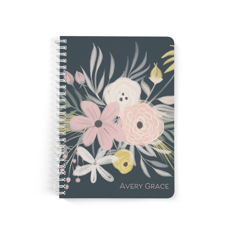 Personalized Notebook Custom Journal Spiral Notebooks Small Note Books Flowers Personalized Gifts Bridesmaid Gifts Stocking Stuffer Nb2055
