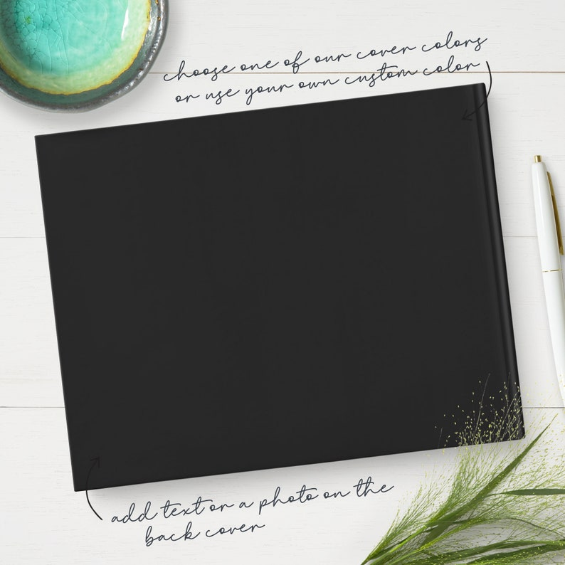 Black Wedding Guest Book Personalized with Real Metallic Gold Foil Custom Guestbook with Live Preview GB253A