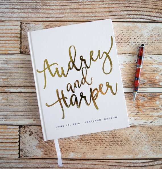 15 Amazing Wedding Guest Book Ideas: Real Gold Foil Wedding Guest Book Black Pages Lines Silver