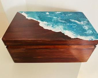 Sea hand painted wooden keepsake, seaside beach box, ocean wave wooden box, photo storage box, jewellery box, wedding card box, beach party