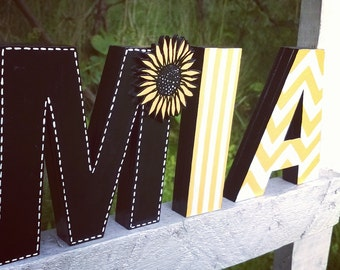 Standing wooden letters, home decor, wedding, baby shower, birthday personalized gift, nursery decor, sunflower, black, white, yellow