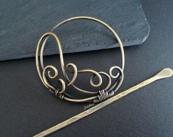 Hair slide, copper or brass bun holder, hair barrette, hair accessory, perfect gift for long hair, hair jewelry, hair comb, metal hair clip