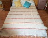 Large vintage Moroccan pom pom wool blanket 386 175 cm Free shipping