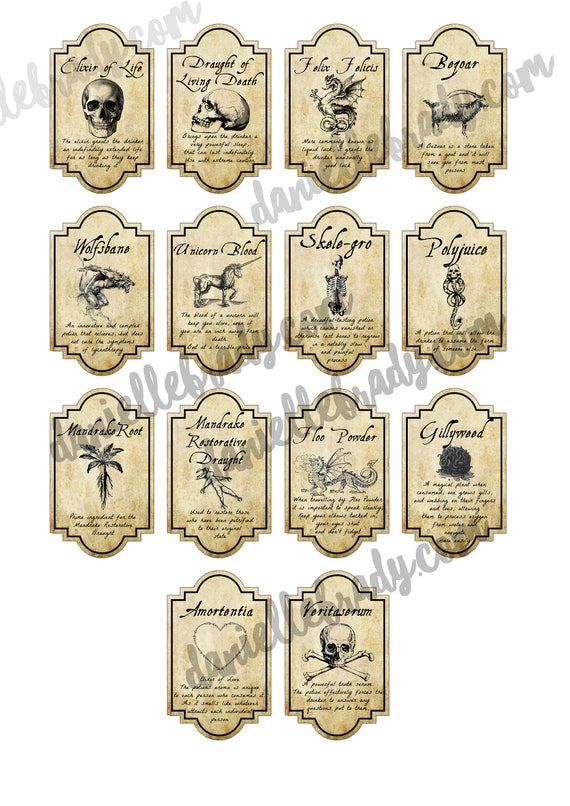 picture relating to Harry Potter Apothecary Labels Free Printable identify Printable Harry Potter Motivated Potion Labels Collage Sheet