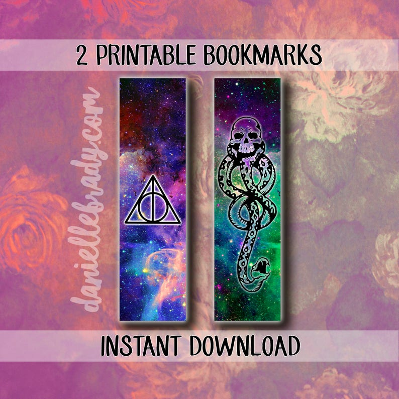 image regarding Printable Harry Potter Bookmarks identified as 2 Printable Harry Potter Bookmarks Deathly Hollows Voldemort