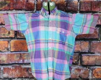 Gant Vintage 1980s Pastel Plaid Madras Cotton Button Up Shirt