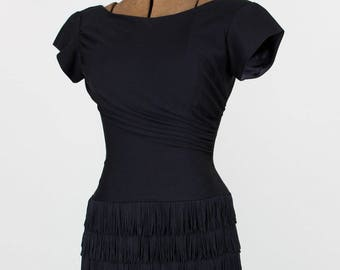 Fringed 1950s Little Black Dress